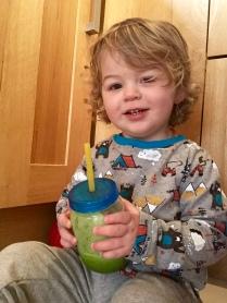 Week 25 Update - Little Man getting into his Green Juice
